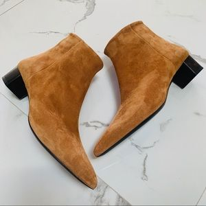 😍NEW Theory Suede Ankle Side Zip Booties